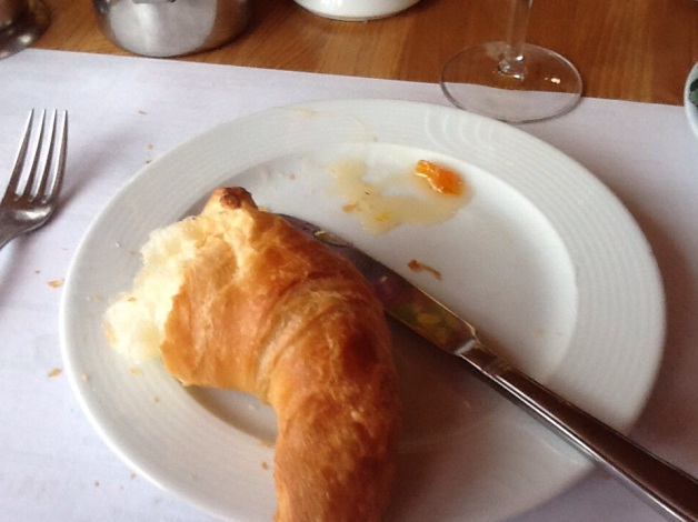 See the croissant.  One day I am going to make one of those. I can only hope that it will be one tenth as good as what I had here. With fresh marmalade.