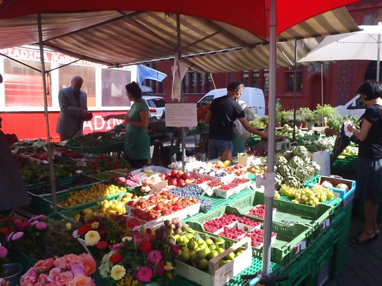 One of the stalls selling gorgeous, fresh fruit and veg.