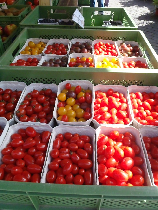 Tons and tons of cherry tomatoes of all colors.