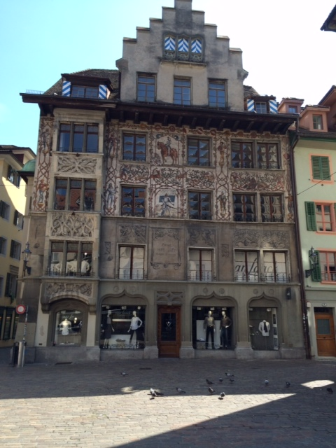 The whole building is painted in a beautiful 16th century theme.