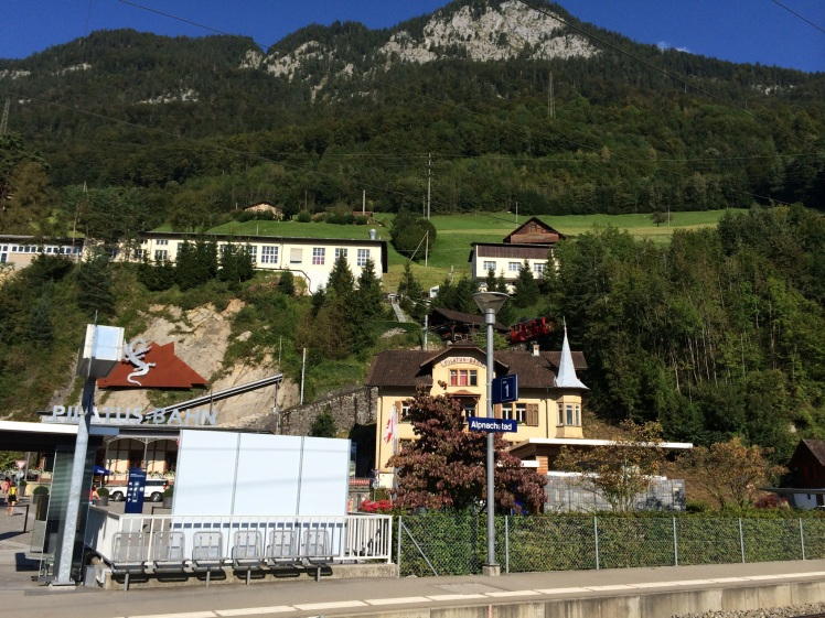 The train station at the foot of the mountain. You can see the peak from here.