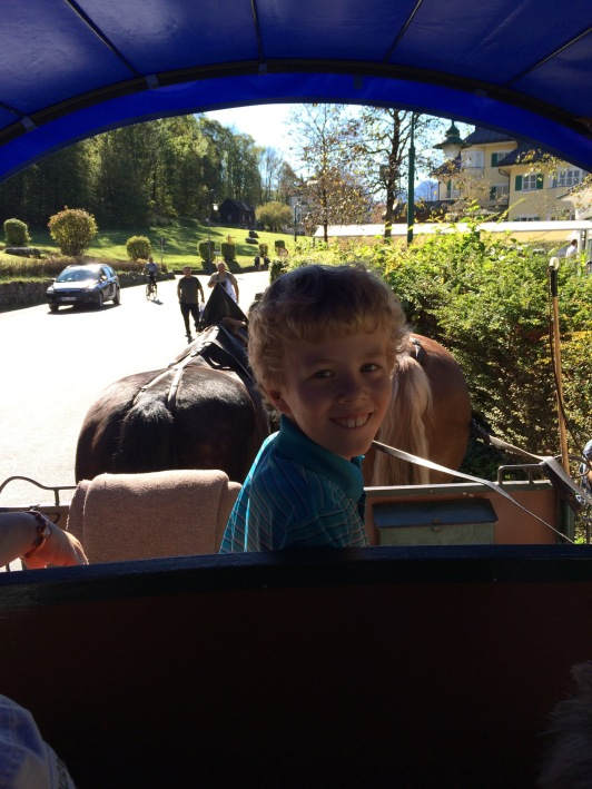 We took a horse-drawn carriage up to the castles.