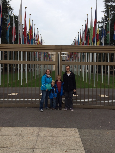 Us outside the United Nations building.