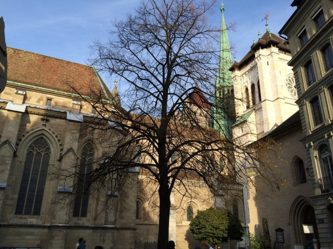 St. Pierre Cathedral. Once Catholic, now Reform.