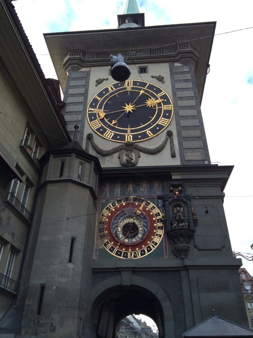 I tried to get a close up so you could see the regular clock in comparison with the astronomical clock.
