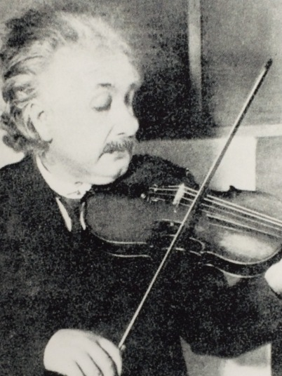 We tried to impress E by telling him Einstein loved to play the violin.  E remains unmoved.