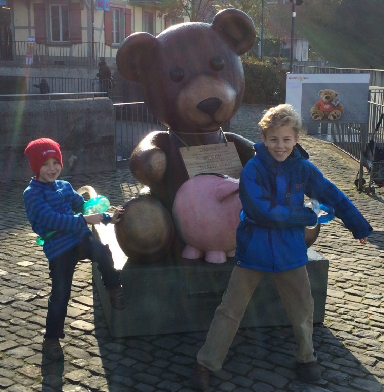Every tourist we saw took a picture with this teddy bear and pig.  We don't quite know about the pig...