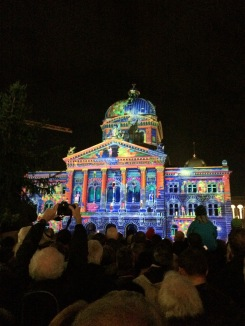 The light show on the capital building. The plaza was packed every night.