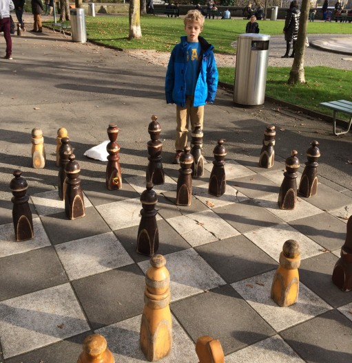 A large chess set. They have these set up in almost every city we've been in.  E loves them.  We may have to build one in our backyard in Maryland.