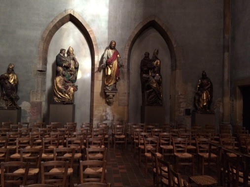This is in a side chapel off the main sanctuary.  Because we wouldn't want the to seem TOO opulent.