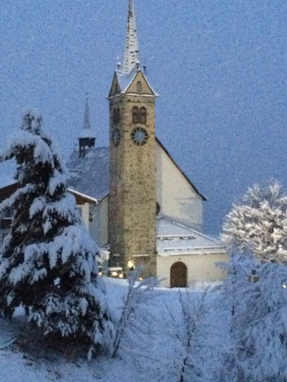 The church in Sedrun across from our hotel.