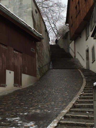 A cobblestone road and stair that dates back to the 1600s.