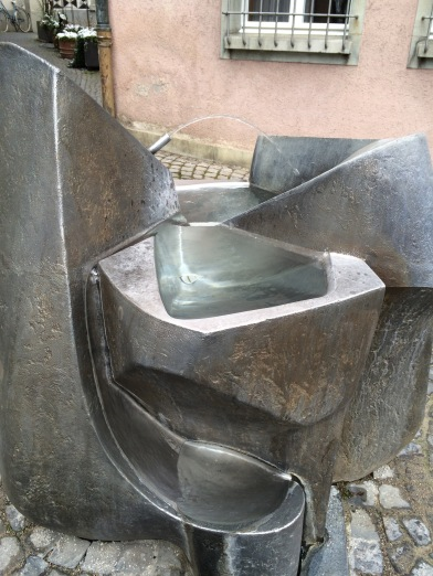 A wonderful steel fountain. It reminds me of a mountain in springtime.