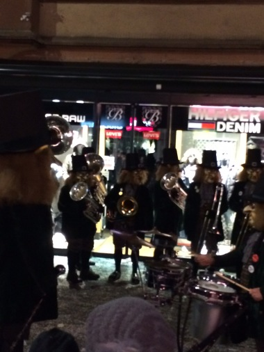 A brass band playing some rock and roll!