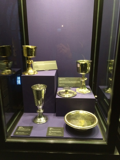 One of 5 cases of gold and silver communion plate.