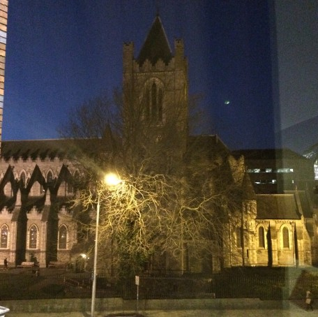 Our view of Christchurch Cathedral from our hotel room.