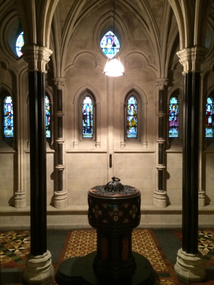 The baptismal font.  It's off in a side alcove equal to the altar.