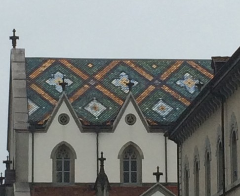 Gorgeous glazed tile roofing. Common around Switzerland and lower parts of France, but always appreciated.