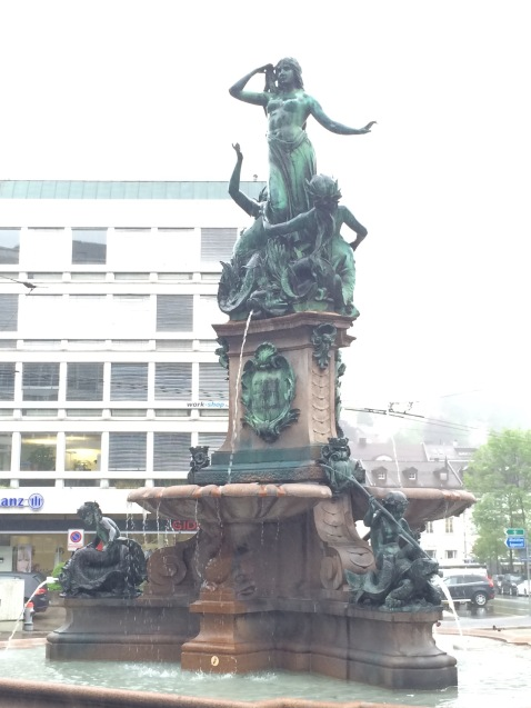 The fountain outside the train station.