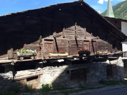 An original house to Zermatt.  They are built on stilts to keep the above the snow.