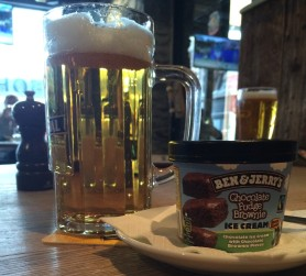 Beer and ice cream. Yes, they are civilized enough to serve ice cream in a pub here.