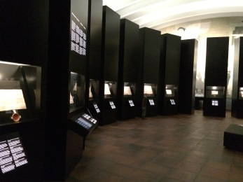 The display cases, each with a different treaty.